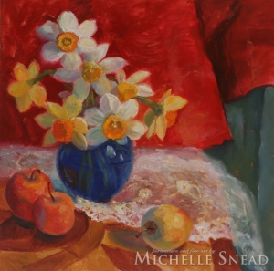 Daffodils with Blue Vase