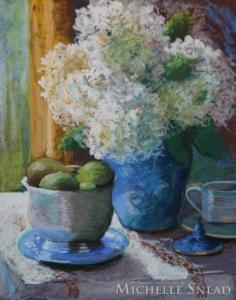 Hydrangeas with Blue Vase