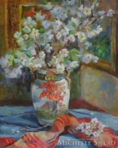 Japanese Vase with Cherry Blossoms